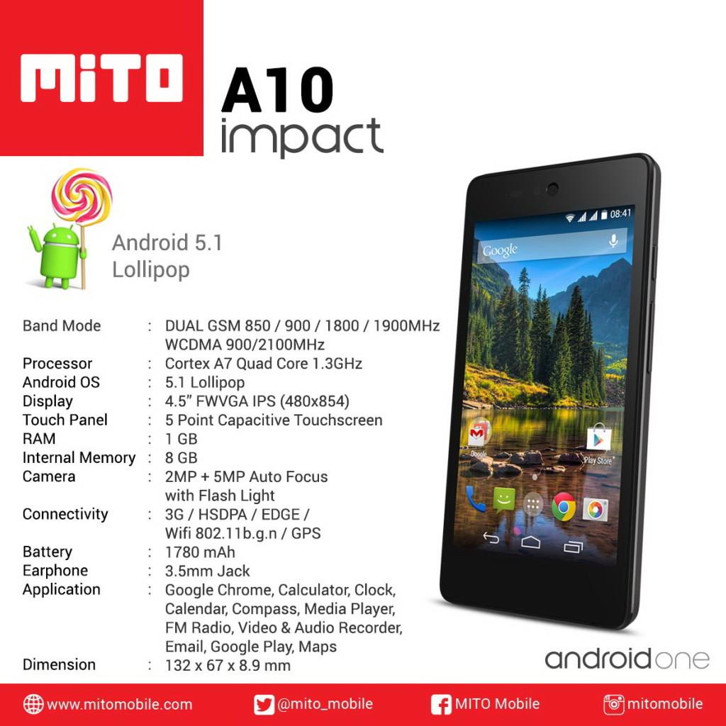 Harga Spesifikasi Mito Impact A10 Android One