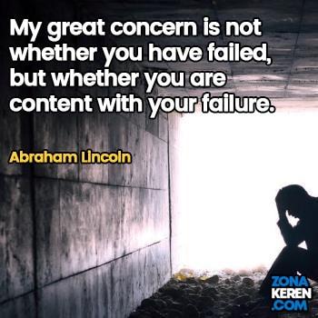 Gambar Caption Kata Bijak Kegagalan Bahasa Inggris Failure Quotes Arti Terjemahan Abraham Lincoln